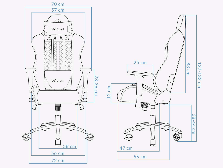 UVI Gamer Blue Gaming chair Measurements