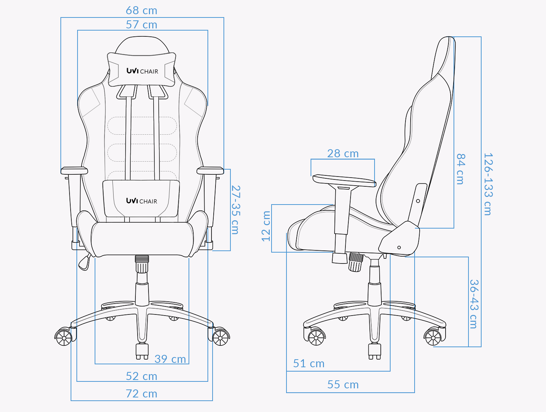 UVI Styler Green Gaming Chair Measurements