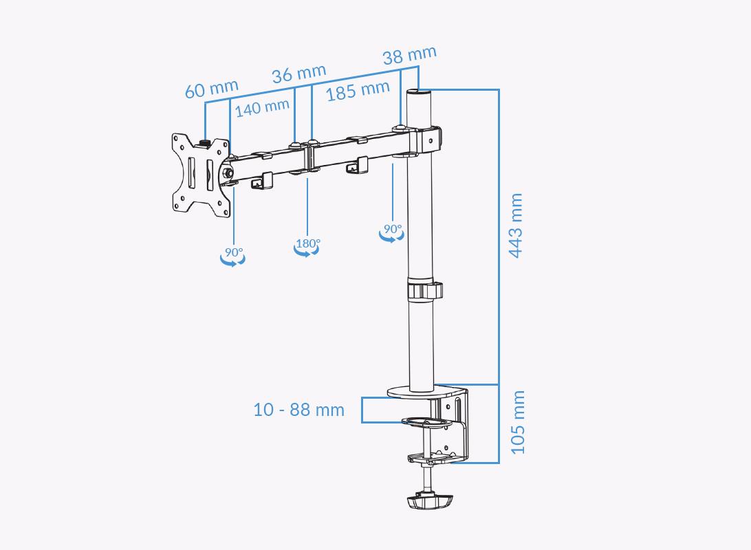 UVI Single monitor stand Measurements